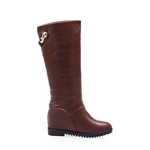 AllhqFashion Damen Niedriger Absatz Blend-Materialien Mittler Kalb Ziehen auf Stiefel, Schwarz, 38