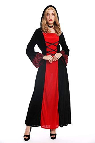 dressmeup W-0032 Kostüm Damen Frauen Karneval Halloween Kleid lang Kapuze Mittelalter Elfe Prinzessin schwarz rot S (Frauen Sexy Elfen Kostüm)