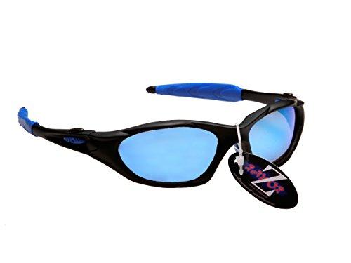 Rayzor professionnel léger UV400 Noir Sport Wrap course Lunettes de soleil,  avec Blue Iridium miroir c71e692fa063
