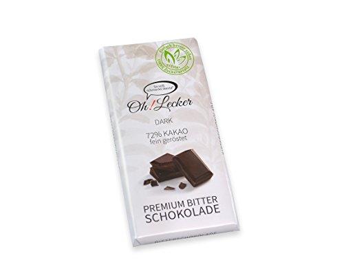 """11 Tafeln low-carb Naschangebot """"Oh! Lecker"""" 72% Kakao Bitter Stevia-Schokolade á 80g - Ohne Zuckerzusatz, Ohne synthetische Süßungsmittel"""