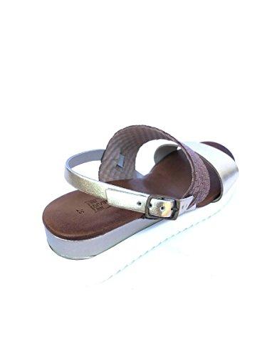 Sandali zeppa DV12 in pelle con cinturino suola platform MainApps Cuoio