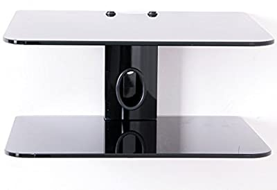 DVD Bracket, DVD Mount and Sky Box Wall Bracket with 2 Floating Black glass shelves - inexpensive UK light shop.