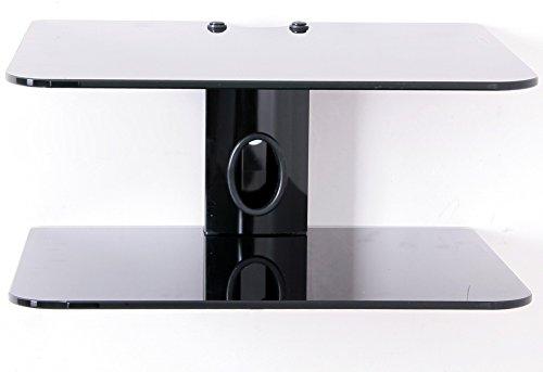 Supporto per dvd, dvd e staffa da parete per sky box, con 2 ripiani sospesi in vetro nero