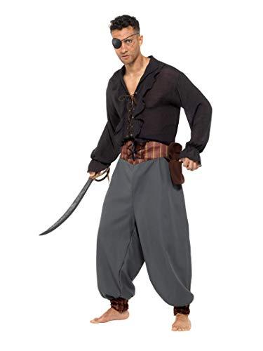 Smiffy 's 47201X L Pirata-Chaqueta pantalones, para hombre, negro, xl-uk tamaño 46