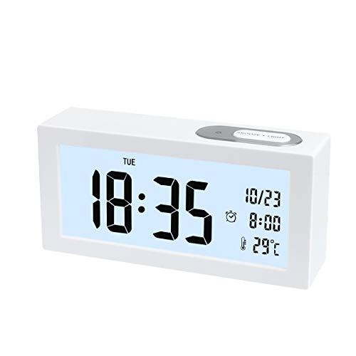 Digital Wecker, Digital Wecker Uhr mit Großer LCD Display Datum und Temperatur Anzeige mit Snooze und Nachtlicht Funktion für Kinder, Zuhause, Schlafzimmer