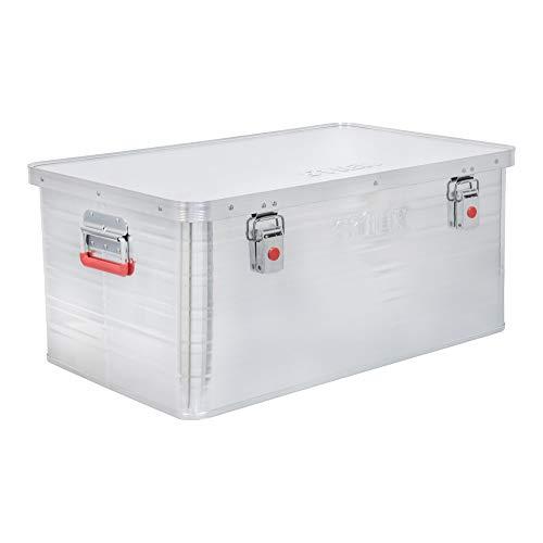 STIER Alubox, Aluminiumbox 85L, Staub- und spritzwasserresistent mit Gummidichtung und 2 Klapphandgriffen