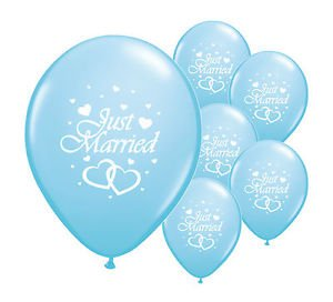 10-x-just-married-12-helium-quality-pearlised-wedding-balloons-light-blue