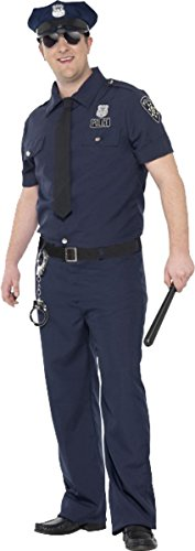 Herren Erwachsene Fancy Dress Halloween Party Polizist Kurven NYC Cop Kostüm Outfit, Blau