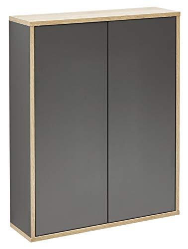 FACKELMANN Doppel-Hängeschrank Finn/Badschrank mit Push-to-Open/Maße (B x H x T): ca. 60 x 75 x 20,5 cm/Schrank fürs Bad mit 2 Türen/Korpus: Schwarz/Front: Schwarz/Rahmendekor: Braun hell -