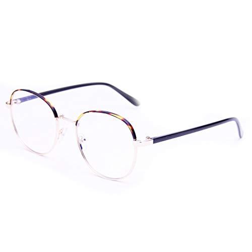 Sakuldes Retro Runde Brillenfassung Brillen Nicht verschreibungspflichtige Brille klare Gläser für Damen und Herren Leopardenmuster