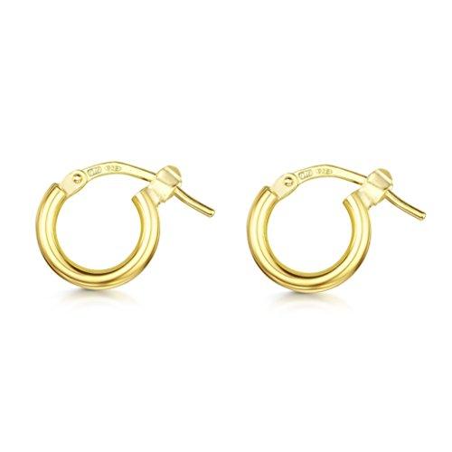 Amberta 925 Sterling Silber - Vergoldet 18K - Edle Ringe mit Scharnierbügel – Kleine Runde Creolen Ohrringe - Durchmesse: 7 15 25 35 45 55 mm