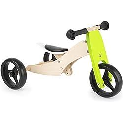 Small Foot Trike 2 en 1 en Bois, Tricycle et draisienne en Un, entraîne Le Sens de l'équilibre Jouets, 11255, Multicolore