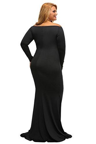 ILFtrend Langes Abendmode Abendkleid Schulterfrei Kleid Partykleider Schwarz