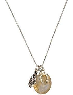 Sterling Silber Charm Halskette mit natürlichen Citrin für Negative Energie Schutz