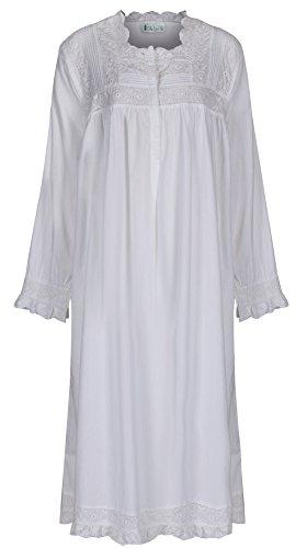 The 1 for U 100% Baumwolle Praire Stil Nachthemd mit Taschen Henrietta - XS - XXXXL - Weiß, Weiß, L