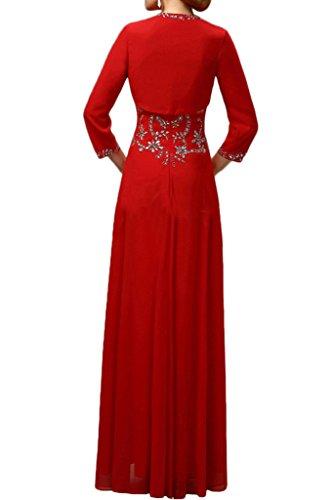 Sunvary Elegant Neu 2017 Chiffon Steine Mutterkleider Abendkleider Lang mit Jacke Weinrot