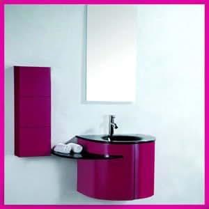 Usirama - Ensemble Meuble Salle De Bain Rose Vasque Design Luxe 60Cm Avec Colonne 80Cm