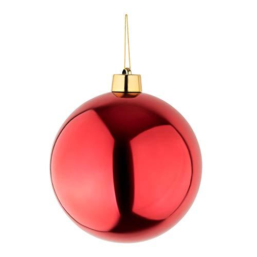 Große Weihnachtskugel Christbaumkugel rot glänzend 25 cm Durchmesser. Hochwertig für Innen und wetterfest für Aussen. Mit Aufhängung und Goldband