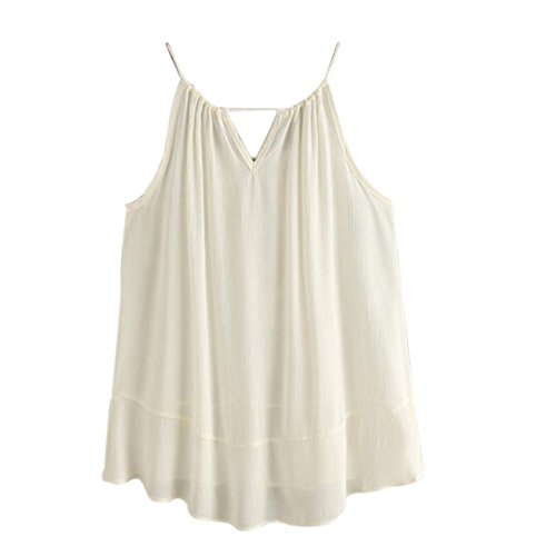 LHWY Damen DrawString Neck Stickerei Cami Top Bluse Tank Tops t-shirt Beige