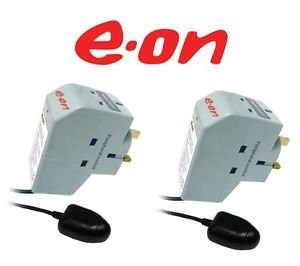 EOn Surge Protected Energy Saver Power Down Socket w/TV Remote Sensor, 2 pieces value pack