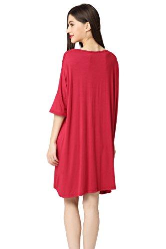 Aibrou Damen Nachthemd Nachtwäsche Negligee Nachtkleid Kurz Modal Umstandskleid Stillnachthemd Sleepshirt Rot