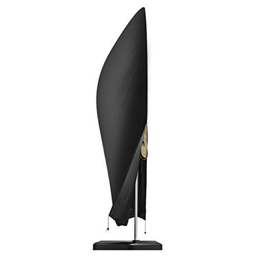 OMORC Sonnenschirm Abdeckung, Schirmhülle Sonnenschirm 210D Nylon Sonnenschirm schutzhülle Outdoor Regenschirm Abdeckung Wasserdichtes mit Klettverschluss -Schwarz (265 x 70 cm)