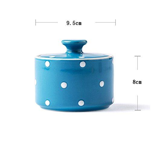 Global- De style occidental boîtes bol de sucre en céramique assaisonnement, Accueil Quotidien Céramique pot Bidon Spice Cuisine Gadgets Cuisine fournit jar Sealed ( couleur : Bleu )