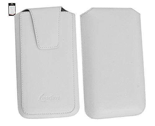 Emartbuy Timmy M7 Smartphone Sleek Serie Weiß Luxury PU Leder Tasche Hülle Schutzhülle Case Cover ( Größe 4XL ) Mit Ausziehhilfe