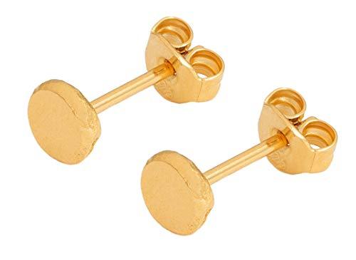 Charlotte Wooning Damen Ohrstecker Ancient Flat Ball Gold Mini Plättchen Gehämmert Silber Vergoldet EAFBg