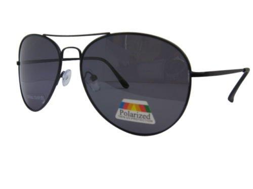 AVIATOR schwarz polarisiert Sonnenbrille Fahren Brille 100% UVA/B Spring Scharniere 93