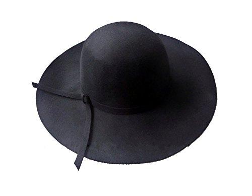 Yahee365 Weich Damen breite Krempe Glocke Hut Damenhut Schlapphut mit Retro Wolle Schleife Bowknot Damen Hut