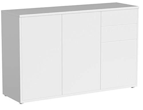 Vladon Kommode Sideboard Ben V3, Korpus in Weiß matt/Fronten in Weiß Hochglanz