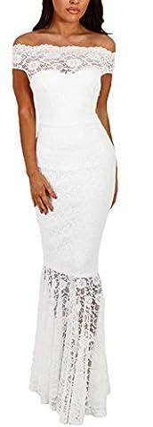 Lukis Damen Meerjungfrau Ballkleider Off Shoulder Lang Abendkleider Partykleid Weiß M-Brust