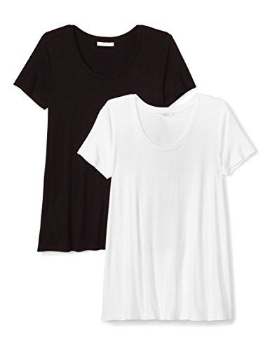 White Scoop Neck Tee (Daily Ritual Women's Jersey Short-Sleeve Scoop Neck Swing T-Shirt, 2-Pack, S, Black/White)