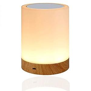LED Nachttischlampe, Amouhom Dimmbar Atmosphäre Tischlampe für Schlafzimmer Wohnzimmer, 16 Farben Tragbare Nachtlicht…