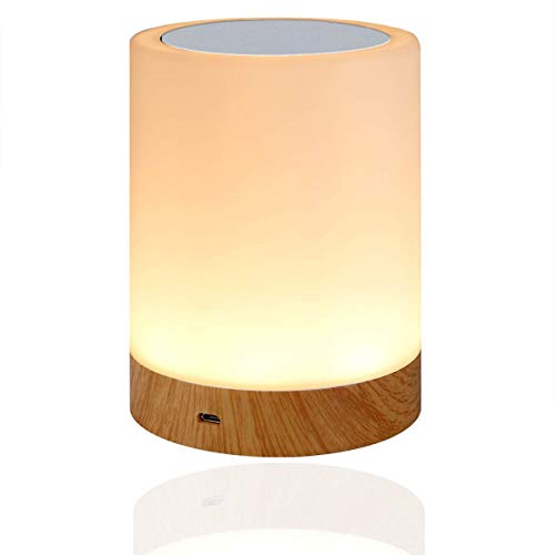 LED Nachttischlampe, Amouhom Dimmbar Atmosphäre Tischlampe für Schlafzimmer Wohnzimmer, 16 Farben Tragbare Nachtlicht mit 2800K-3100K Warmes Weißes Licht und Farbwechsel -