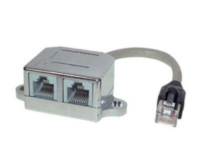 Galleria fotografica Kescom CAT5 Y-Adattatore Ethernet/Ethernet per Leitungsdopplung di cablaggio strutturato (2 adattatori si per un raddoppio di)