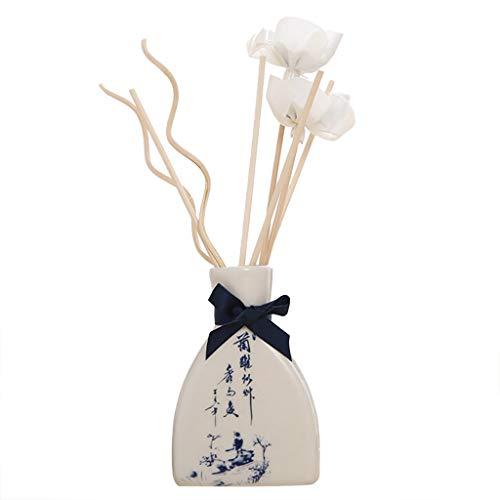 eliaSan Reed-Öldiffusoren mit natürlichen Stiften, Keramikflasche und Duftöl - alkoholfreie Aromatherapie Essentials Öle Reed-Diffusoren mit 6 Diffusorstiften 30 ml
