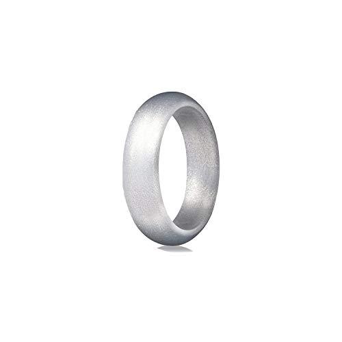 Tiamo Violet Umwelt Silikon Weiblich Männlich Ring für Frauen-Mädchen-5.7mm, 9, Silber (Camo Frauen Trauringe)