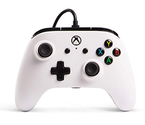Manette filaire PowerA sous licence officielle pour Xbox One, Xbox One S, Xbox One X, Windows 10 - Blanc