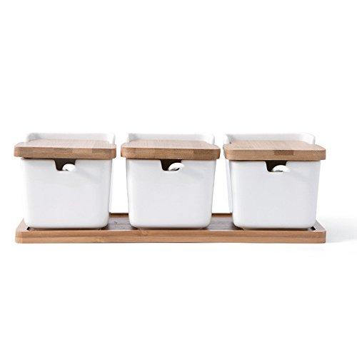 TAMUME Weißes Porzellan Küchentopf einstellen von 3 Lagerbehälter-Set mit Bambusdeckel mit passendem Porzellanlöffel Zuckerdose, Salz- und Pfefferstreuer, Porzellan Gewürzhalter