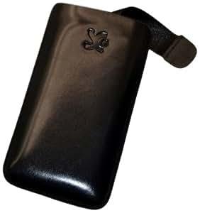 Original Suncase Echt Ledertasche (Lasche mit Rückzugfunktion) für Nokia E7-00 in schwarz