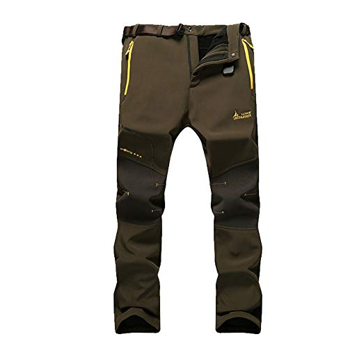 Wanpul pantaloni trekking uomo pantaloni montagna donna pantaloni outdoor impermeabili pantaloni tecnici caldi pantaloni invernali army green l