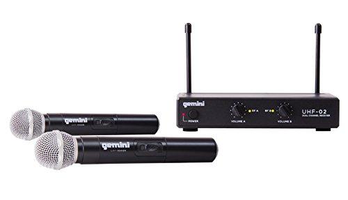 Gemini UHF-02M-S12 UHF Serie Professionelles Audio DJ-Equipment Dual Channel Wireless UHF-System und hochwertiges Handheld Wireless Mikrofon mit 150 ft Reichweite (Dj Equipment Gemini)
