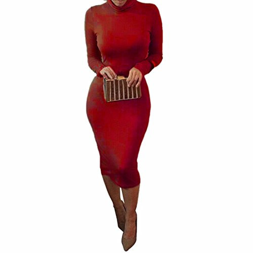 package moulante sexy hanches robes femmes boite de nuit a manches longues robe crayon Rouge