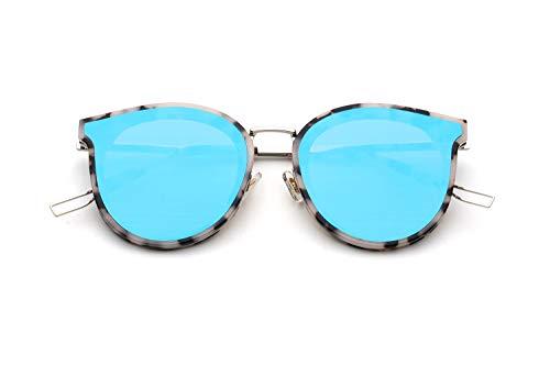 Our Peaches-Sonnenbrille im koreanischen Stil Sonnenbrille runder Rahmen rundes Gesicht Brille (Design : Leopard Frame Blue Lens, Size : Normal)