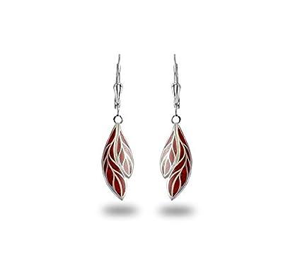 Bijou femme-Création fait main-Boucles d'oreille en pendants de corail montées sur argent 925-Femme