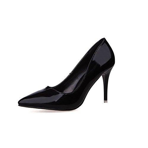 AalarDom Femme Stylet Pointu Tire Matière Souple Chaussures Légeres Noir-Verni