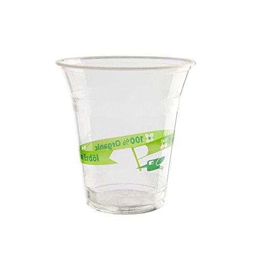kaufdichgrün 50x Bio Einweg Smoothiebecher | aus Biokunststoff PLA| 300ml, 12oz | 100{6005f6e955dd303819c575782eed670cf3db5d9d1d61645d8fdf1c5cbaf69e66} biologisch abbaubar, zertifiziert kompostierbar | ohne Chemie | frei von Erdöl | transparent, mit Bio Druck