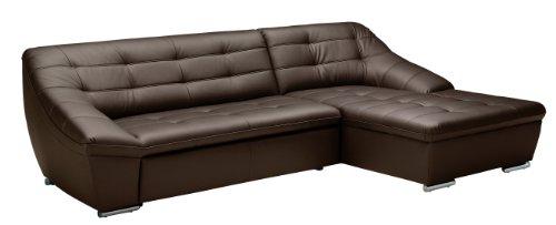 Polsterecke Lucas/3 Bett-Longchair/287x81x165 cm/Leder Punch mocca-Poroflex softy mocca
